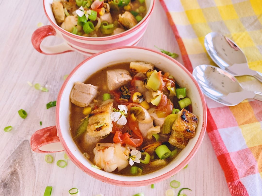 Chunky Summer Vegetable Seafood Chowdah with Sourdough Croutons – Recipe! Image 1