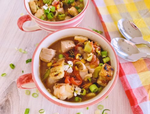 Chunky Summer Vegetable Seafood Chowdah with Sourdough Croutons – Recipe!