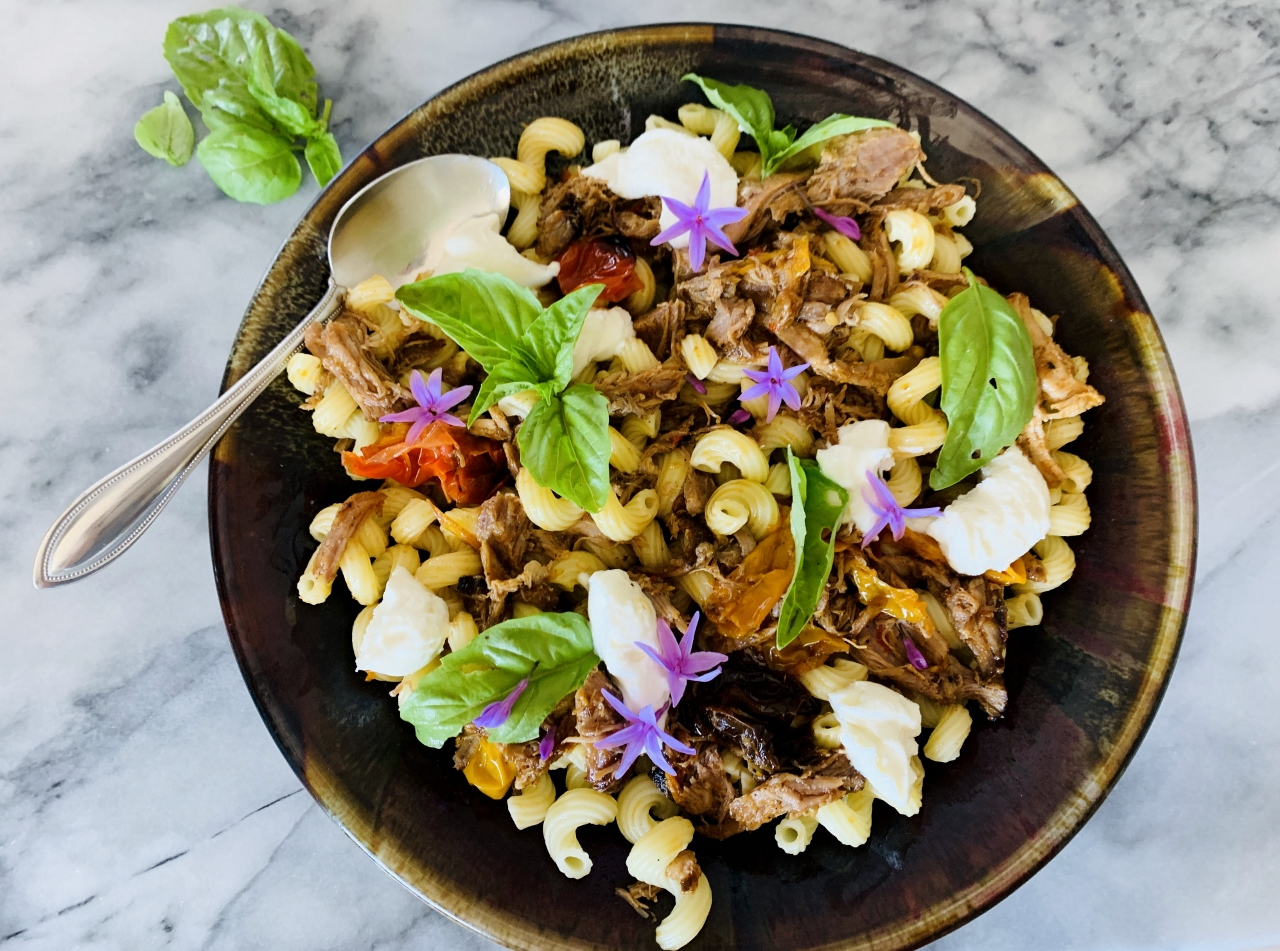 Slow Roasted Pork and Peppers Cavatappi with Ricotta & Basil – Recipe! Image 5