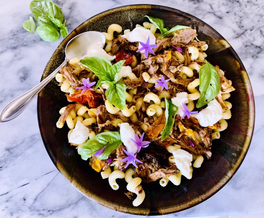Slow Roasted Pork and Peppers Cavatappi with Ricotta & Basil – Recipe! Image 1