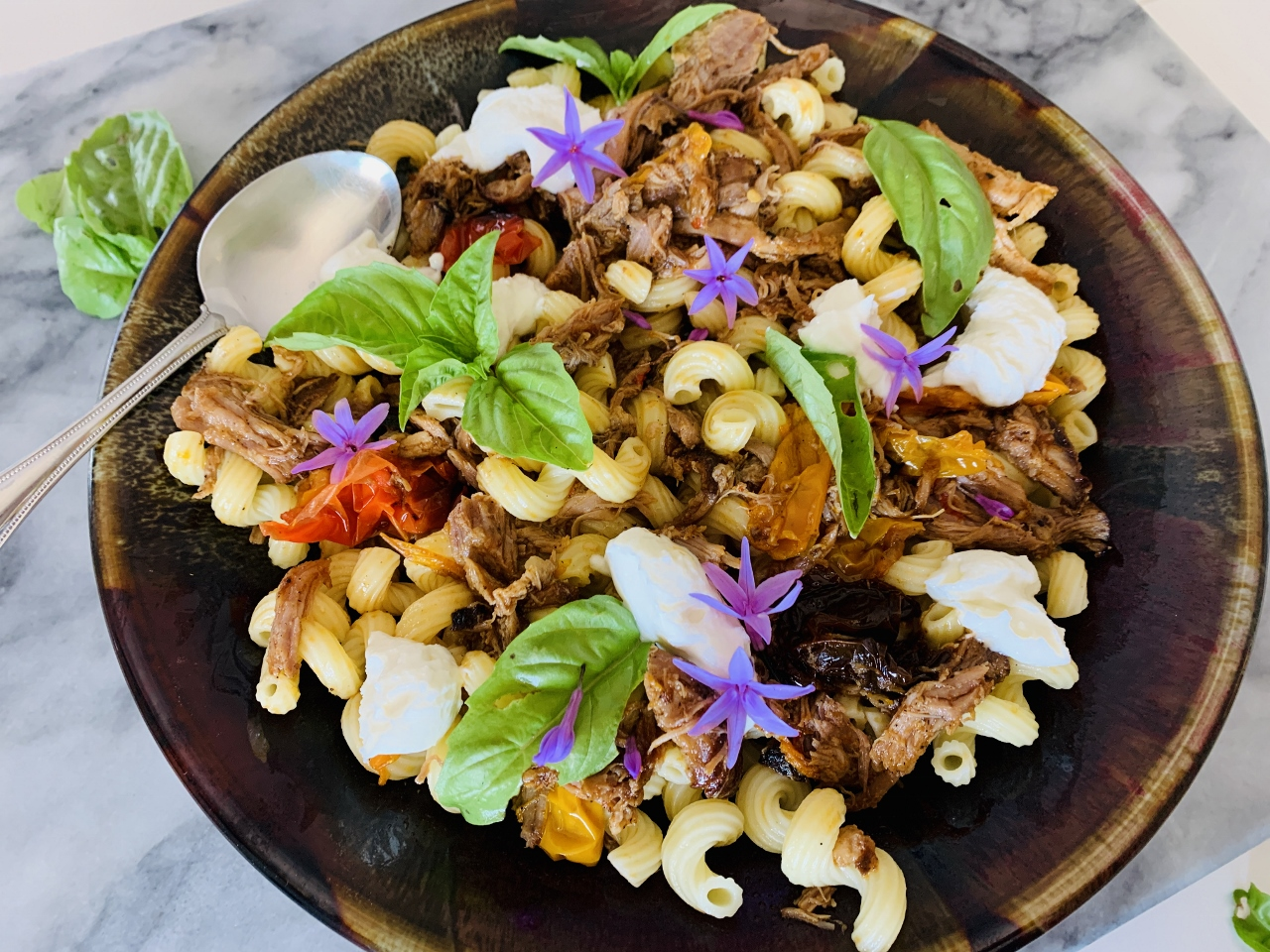 Slow Roasted Pork and Peppers Cavatappi with Ricotta & Basil – Recipe! Image 2