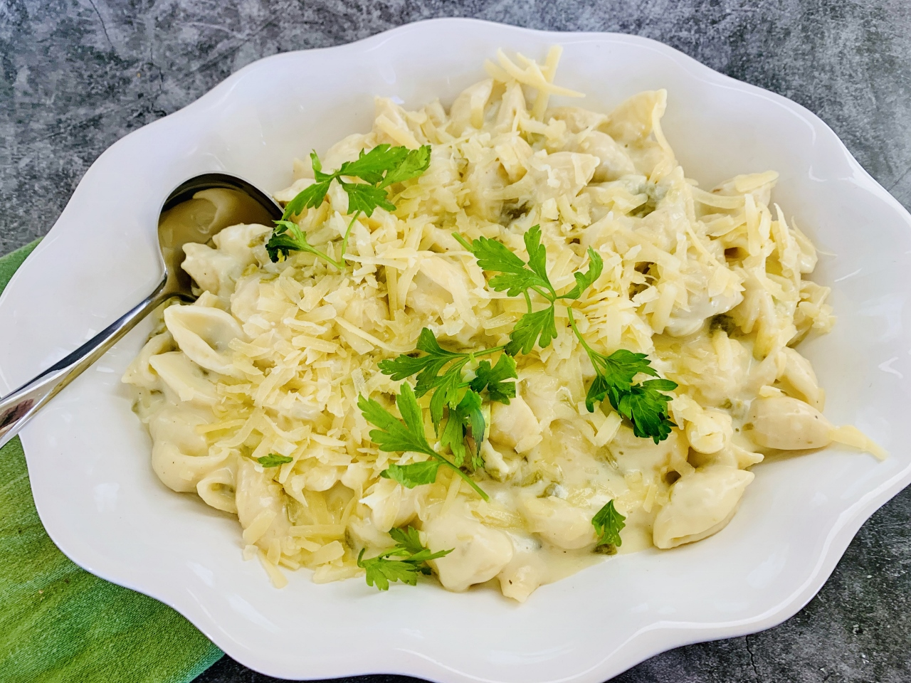Stove Top White Cheddar and Green Chile Shells – Recipe! Image 5